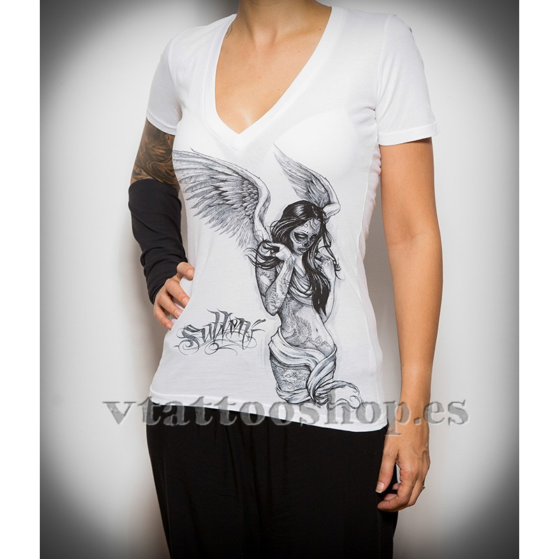 Sullen white Fallen Angel woman t-shirt