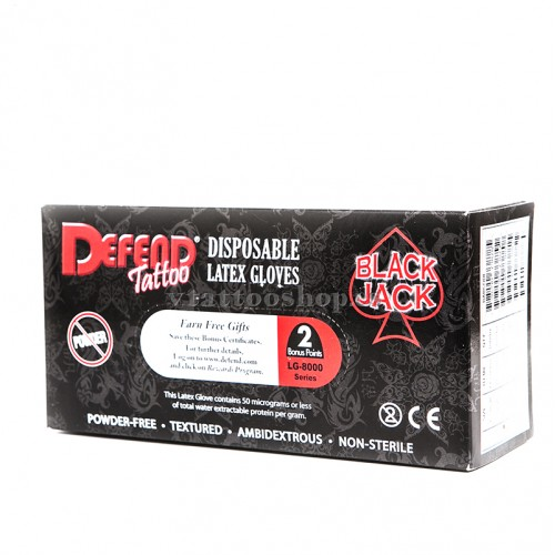 GUANTES DEFEND TATTOO SIN POLVO 100 uds. (XS,S,M,L)