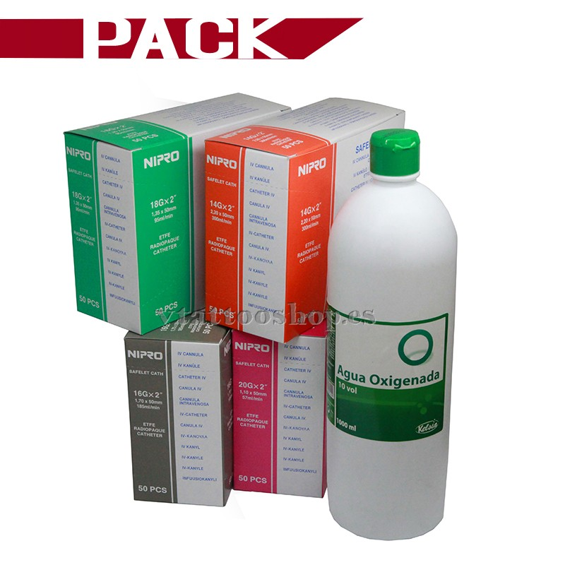 Pack agujas cateter nipro 18G + Agua oxigenada