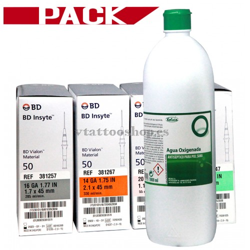 PACK 4 CAJAS AGUJAS CATETER BD INSYTE + AGUA OXIGENADA 1 litro.