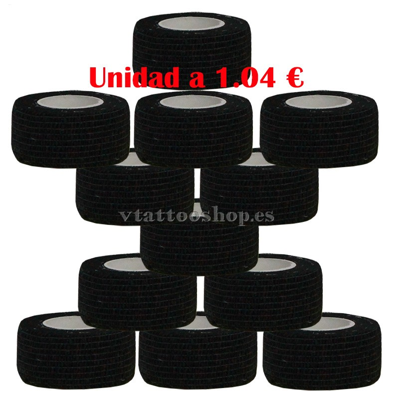 cohesive bandage black 25 mm 12 units