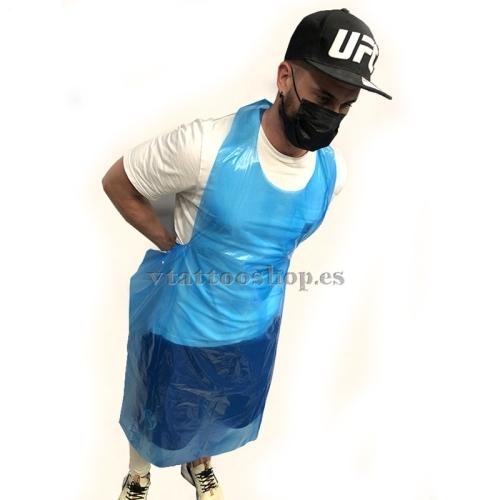Blue plastic apron