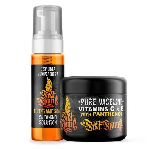 Pack vaselina con vitaminas y foam fist flame